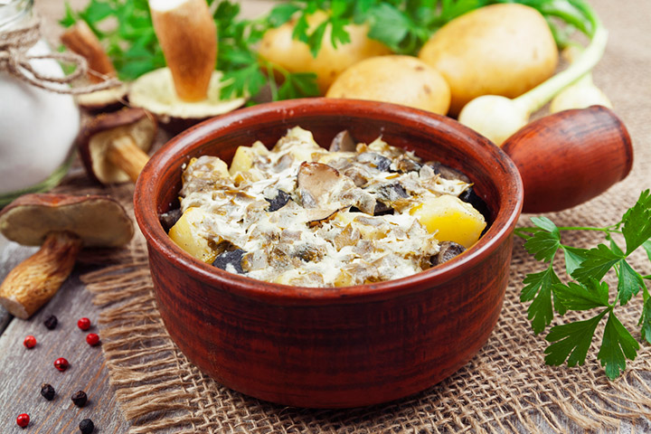 Тушёная картошка с грибами