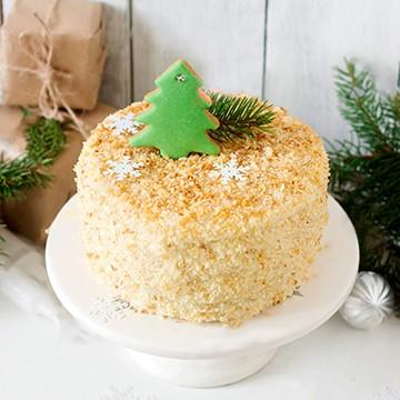 Как украсить торт Наполеон на Новый Год фото