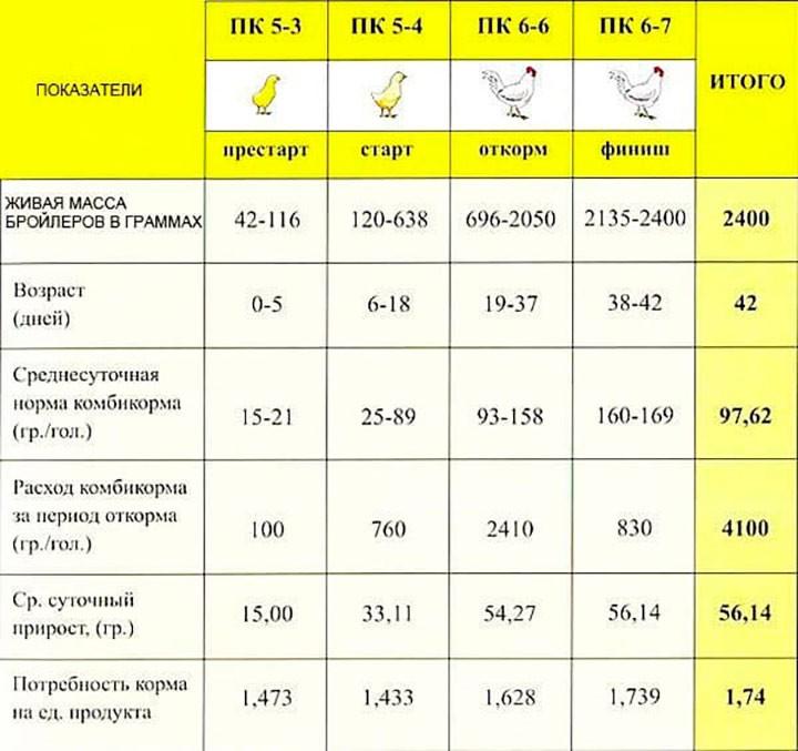 Таблица кормления до забоя